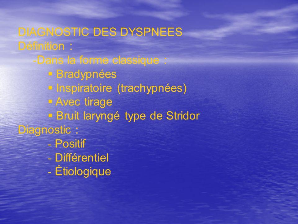 DIAGNOSTIC DES DYSPNEES