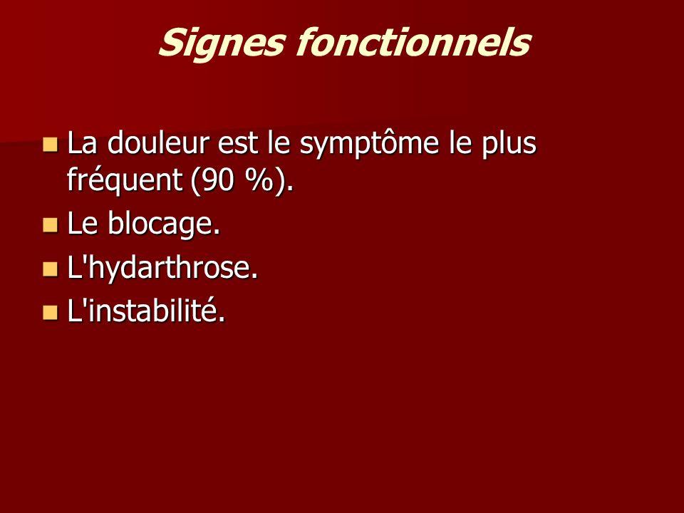 Signes fonctionnels La douleur est le symptôme le plus fréquent (90 %). Le blocage. L hydarthrose.