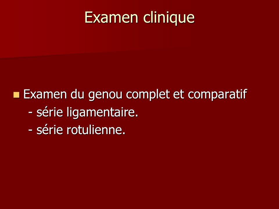 Examen clinique Examen du genou complet et comparatif