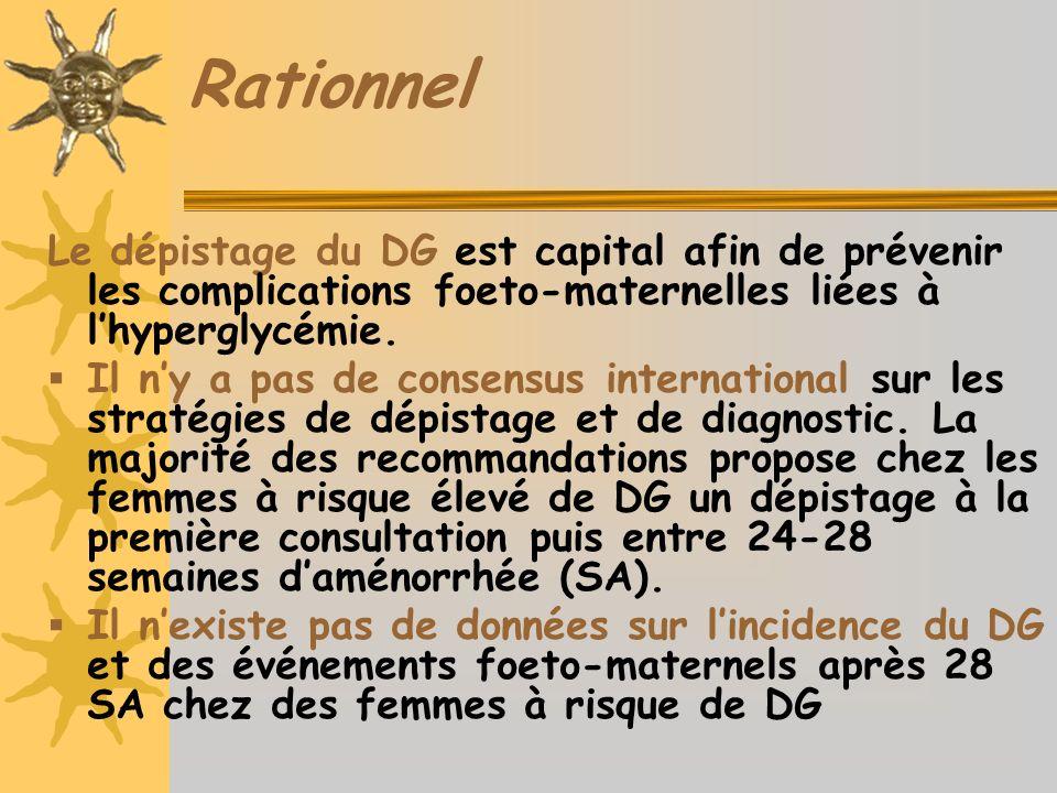 Rationnel Le dépistage du DG est capital afin de prévenir les complications foeto-maternelles liées à l'hyperglycémie.