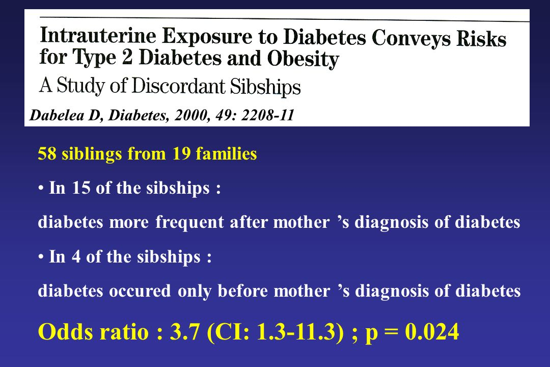 Dabelea D, Diabetes, 2000, 49: 2208-11 58 siblings from 19 families. In 15 of the sibships :