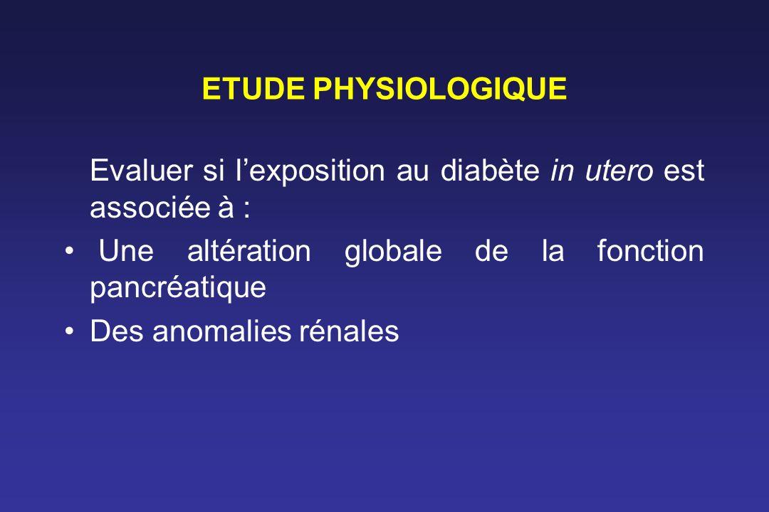 ETUDE PHYSIOLOGIQUE Evaluer si l'exposition au diabète in utero est associée à : Une altération globale de la fonction pancréatique.