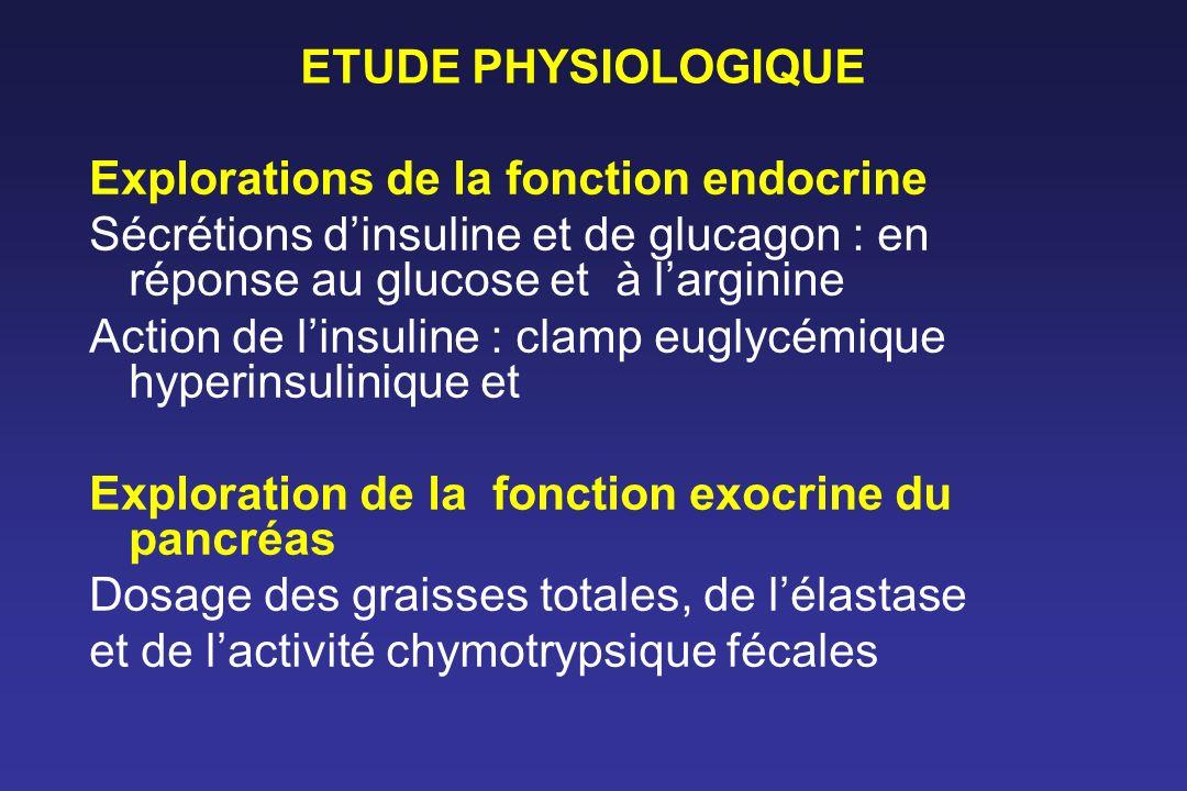 ETUDE PHYSIOLOGIQUE Explorations de la fonction endocrine Sécrétions d'insuline et de glucagon : en réponse au glucose et à l'arginine.