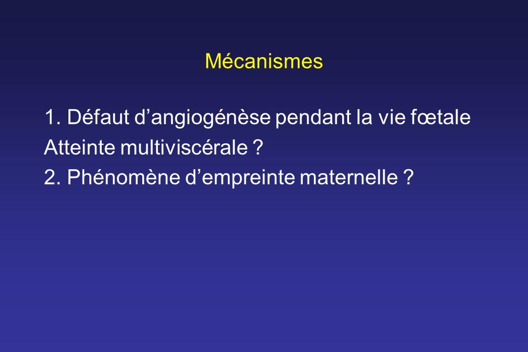 Mécanismes 1. Défaut d'angiogénèse pendant la vie fœtale.