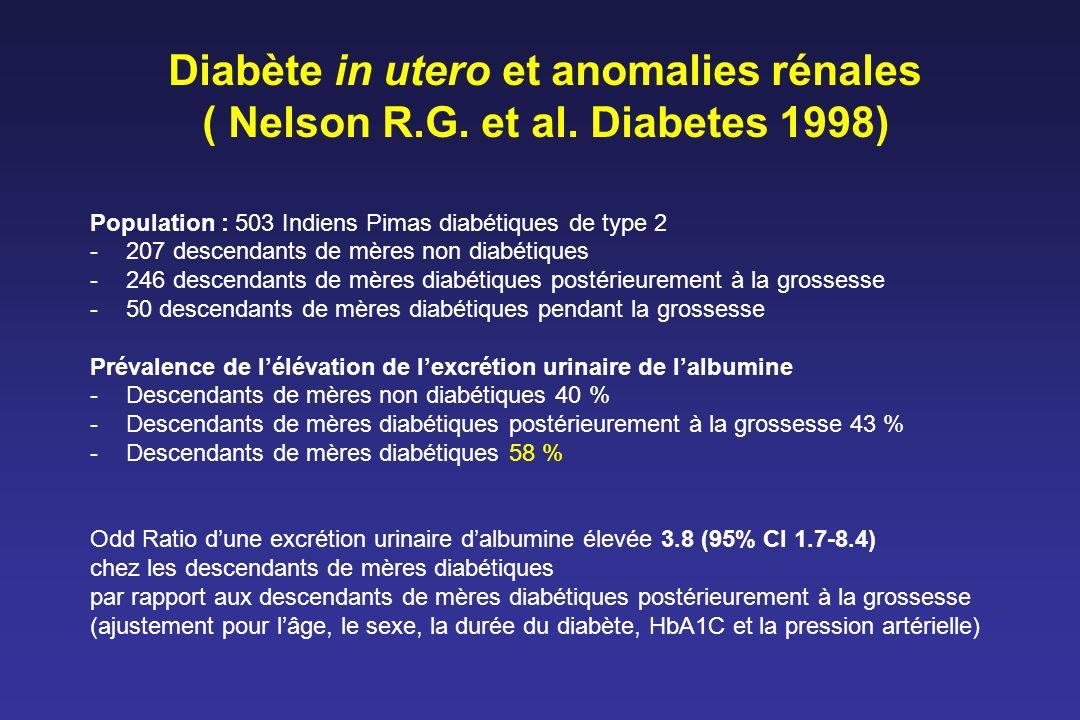 Diabète in utero et anomalies rénales ( Nelson R. G. et al