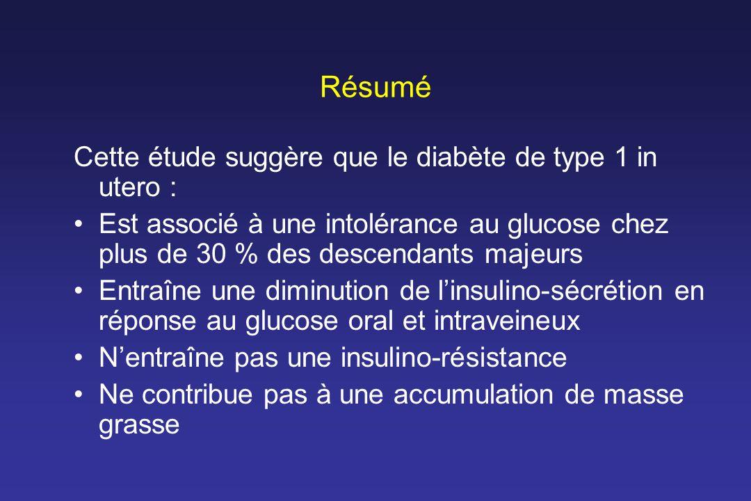 Résumé Cette étude suggère que le diabète de type 1 in utero :