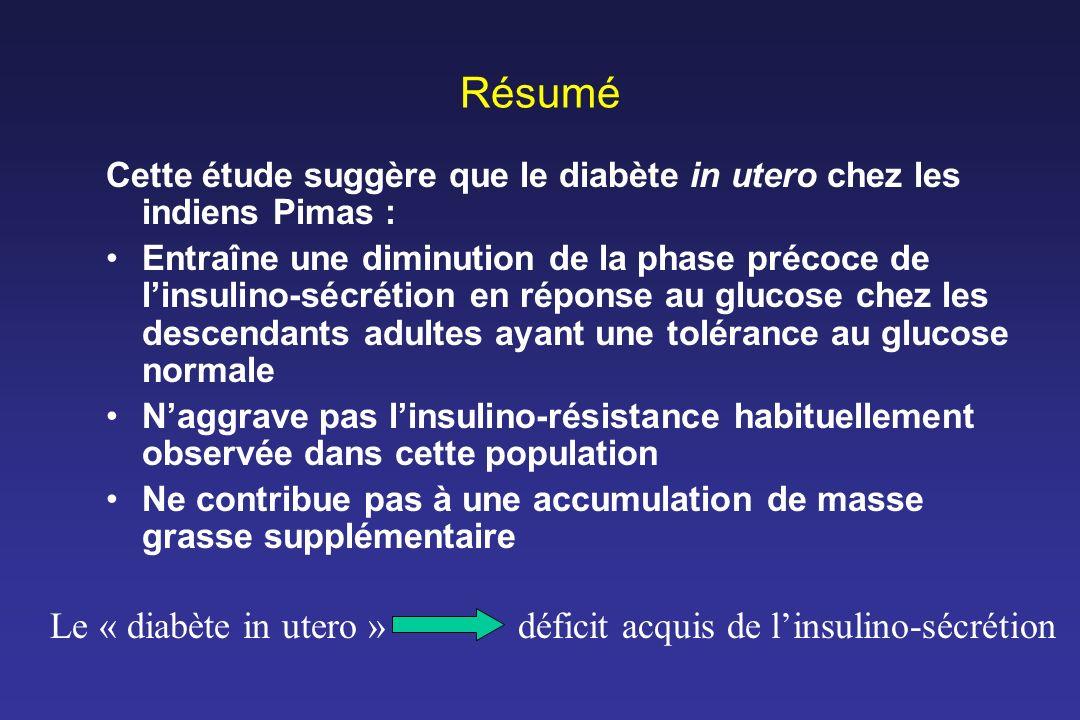 Résumé Le « diabète in utero » déficit acquis de l'insulino-sécrétion
