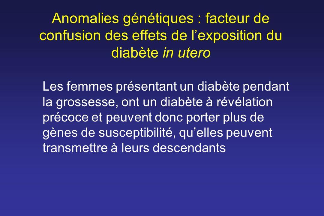 Anomalies génétiques : facteur de confusion des effets de l'exposition du diabète in utero