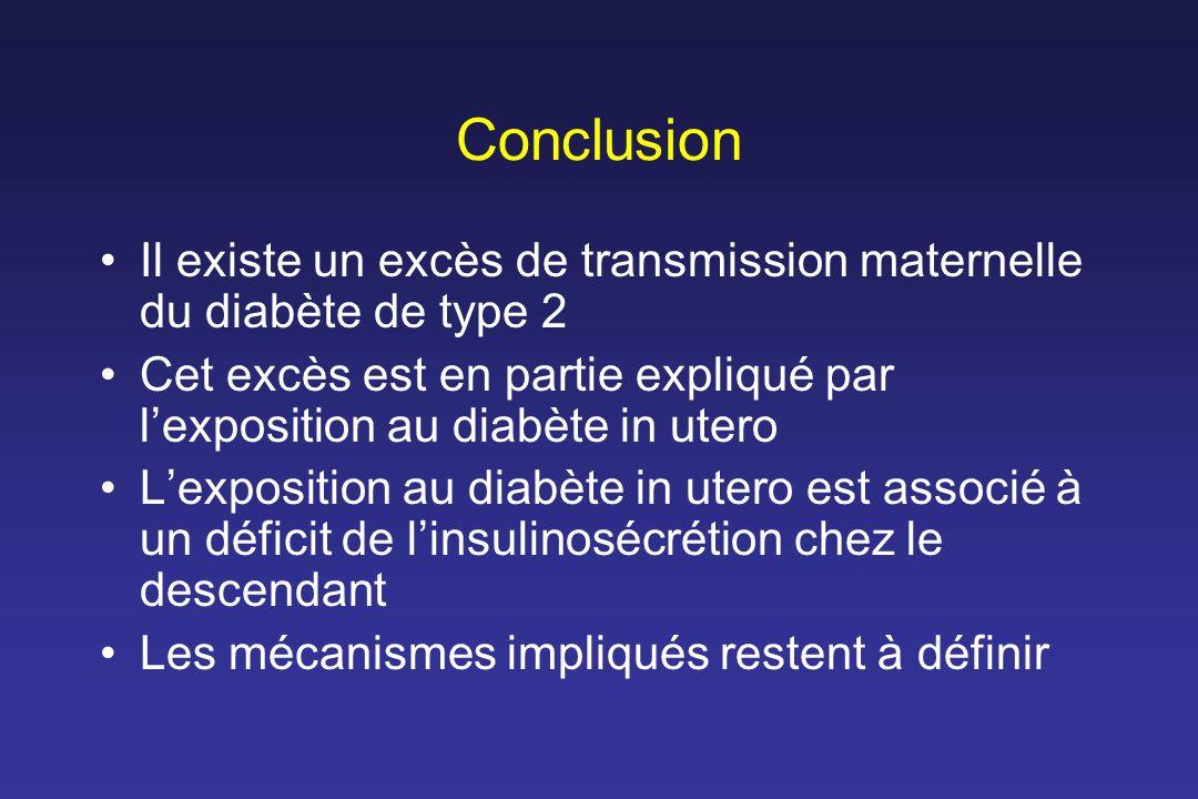 Conclusion Il existe un excès de transmission maternelle du diabète de type 2. Cet excès est en partie expliqué par l'exposition au diabète in utero.
