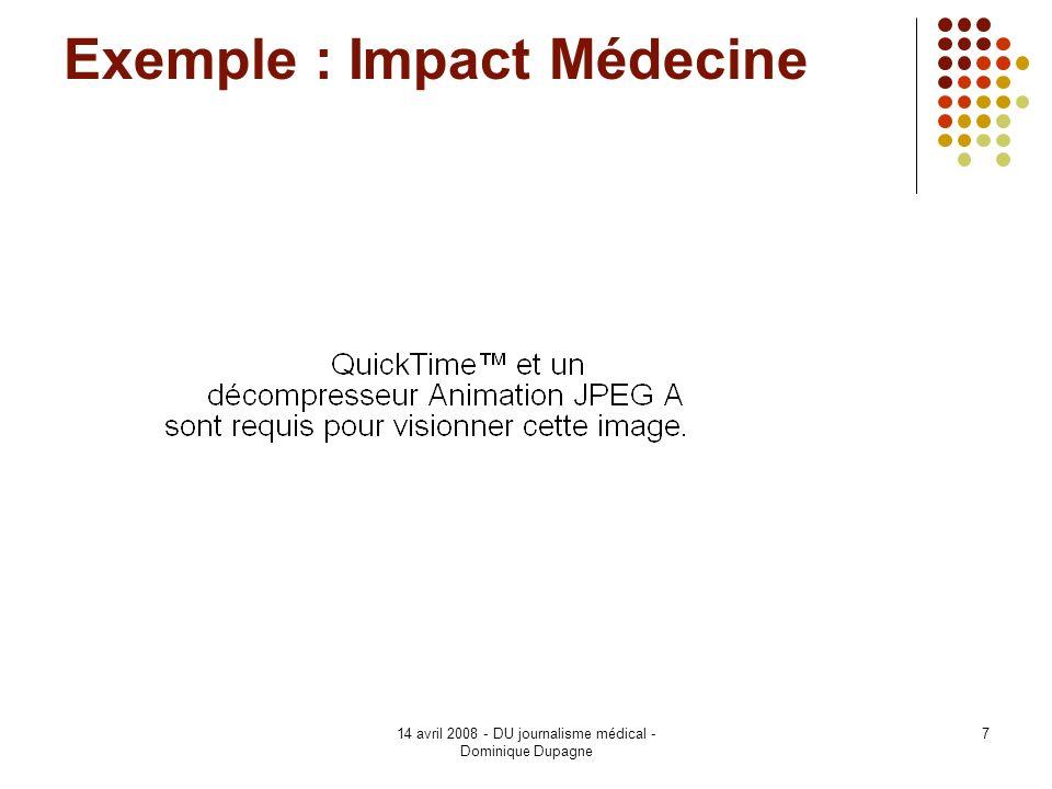 Exemple : Impact Médecine
