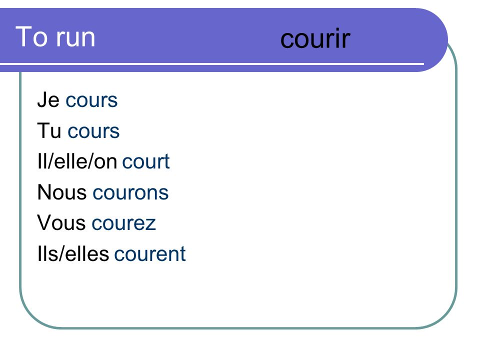 To run courir Je cours Tu cours Il/elle/on court Nous courons