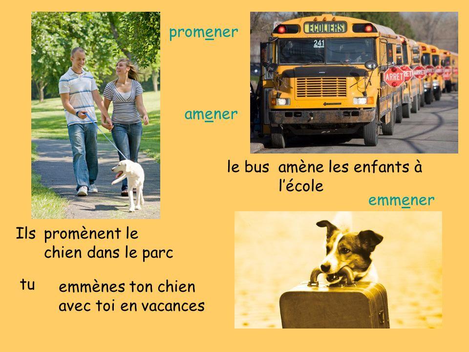 promener amener. le bus. amène les enfants à l'école. emmener. Ils. promènent le chien dans le parc.