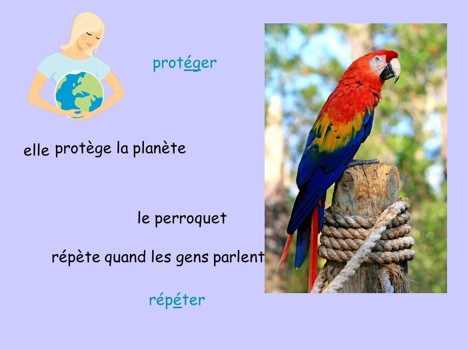 protéger elle protège la planète le perroquet répète quand les gens parlent répéter