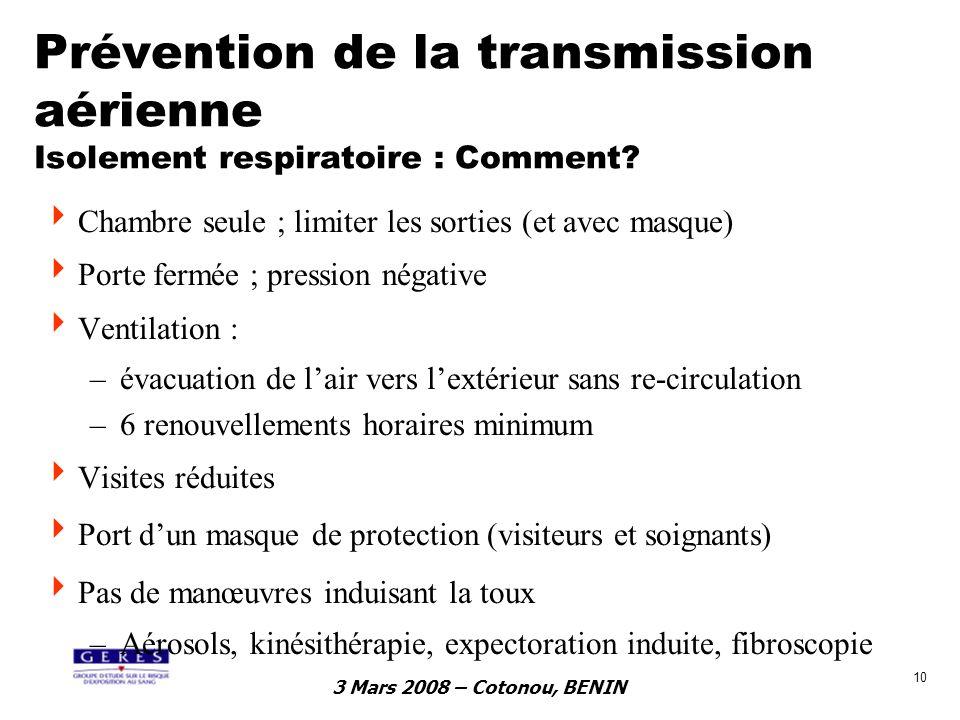 Prévention de la transmission aérienne Isolement respiratoire : Comment