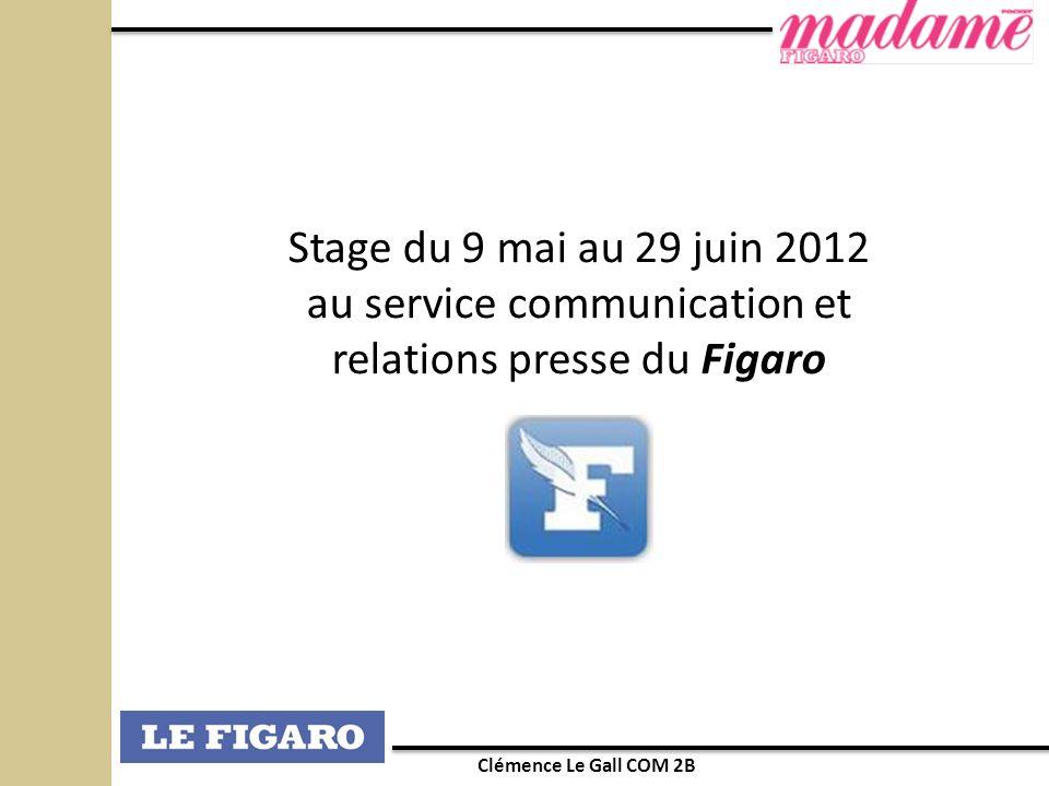 Stage du 9 mai au 29 juin 2012 au service communication et relations presse du Figaro