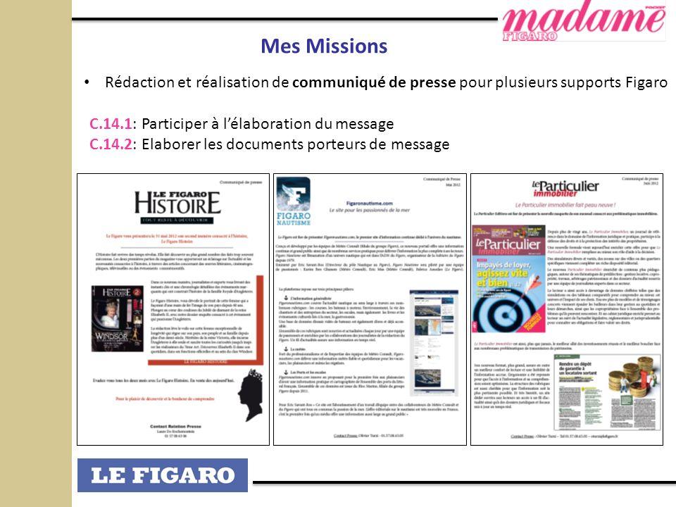 Mes MissionsRédaction et réalisation de communiqué de presse pour plusieurs supports Figaro. C.14.1: Participer à l'élaboration du message.