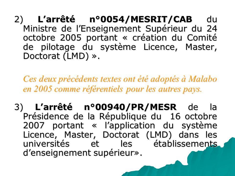 2) L'arrêté n°0054/MESRIT/CAB du Ministre de l'Enseignement Supérieur du 24 octobre 2005 portant « création du Comité de pilotage du système Licence, Master, Doctorat (LMD) ».