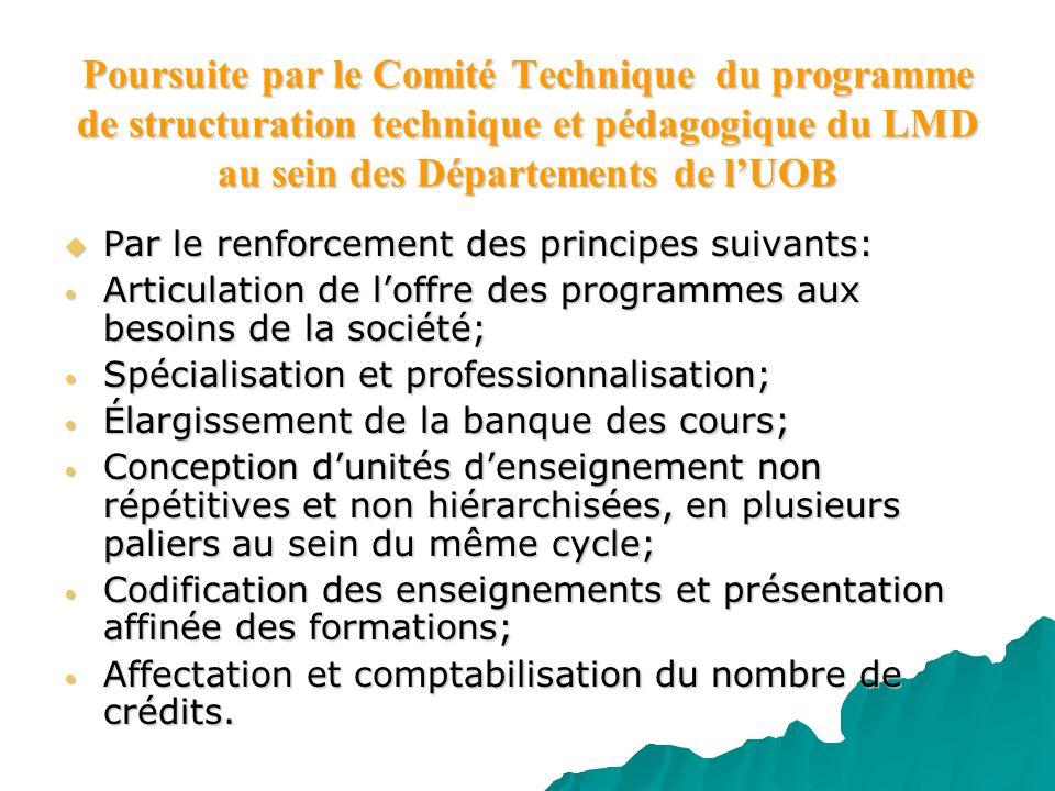 Poursuite par le Comité Technique du programme de structuration technique et pédagogique du LMD au sein des Départements de l'UOB