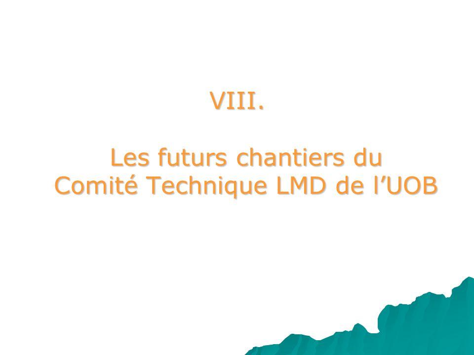 VIII. Les futurs chantiers du Comité Technique LMD de l'UOB