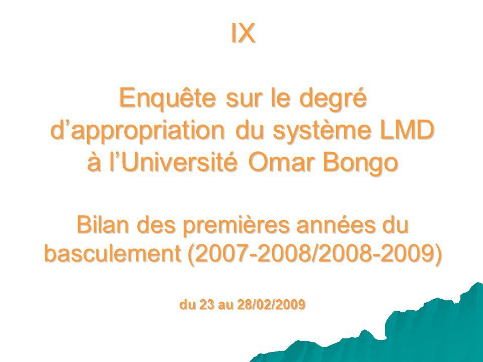 IX Enquête sur le degré d'appropriation du système LMD à l'Université Omar Bongo Bilan des premières années du basculement (2007-2008/2008-2009) du 23 au 28/02/2009
