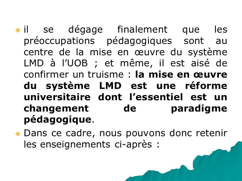 il se dégage finalement que les préoccupations pédagogiques sont au centre de la mise en œuvre du système LMD à l'UOB ; et même, il est aisé de confirmer un truisme : la mise en œuvre du système LMD est une réforme universitaire dont l'essentiel est un changement de paradigme pédagogique.