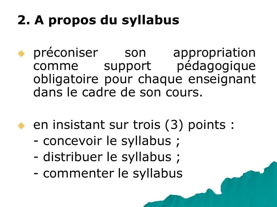 2. A propos du syllabus préconiser son appropriation comme support pédagogique obligatoire pour chaque enseignant dans le cadre de son cours.