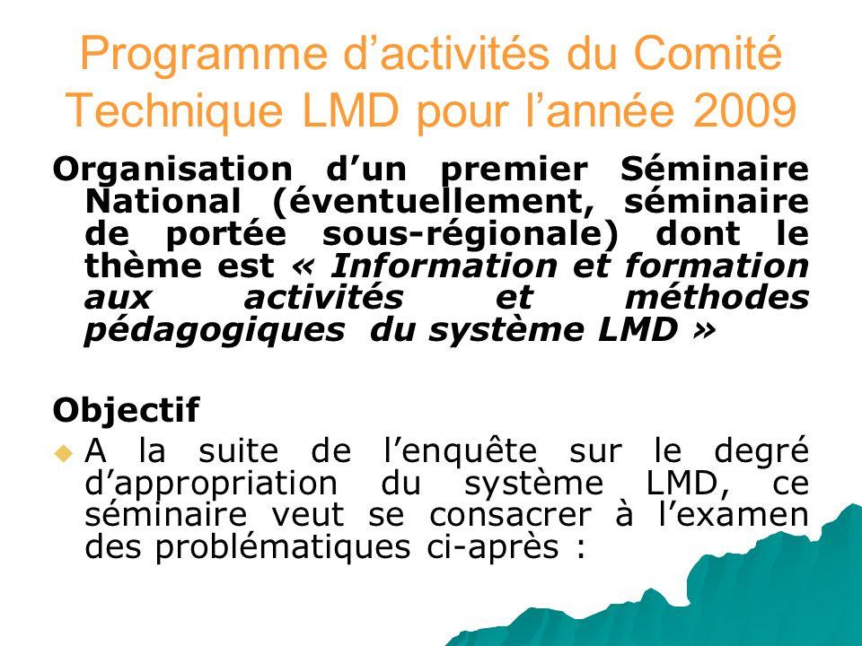 Programme d'activités du Comité Technique LMD pour l'année 2009