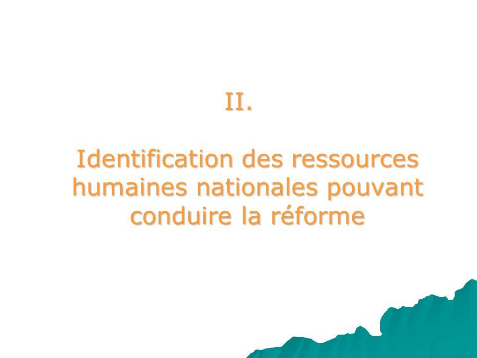 II. Identification des ressources humaines nationales pouvant conduire la réforme