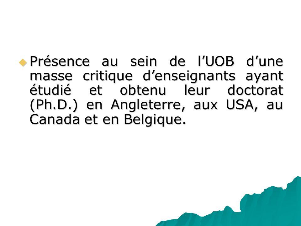 Présence au sein de l'UOB d'une masse critique d'enseignants ayant étudié et obtenu leur doctorat (Ph.D.) en Angleterre, aux USA, au Canada et en Belgique.
