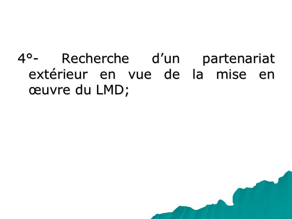 4°- Recherche d'un partenariat extérieur en vue de la mise en œuvre du LMD;