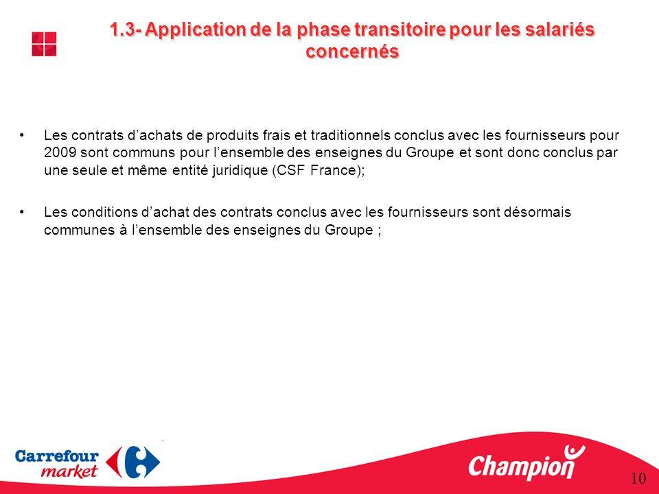 1.3- Application de la phase transitoire pour les salariés concernés