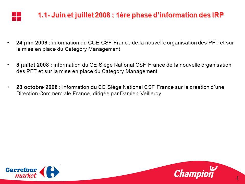 1.1- Juin et juillet 2008 : 1ère phase d'information des IRP