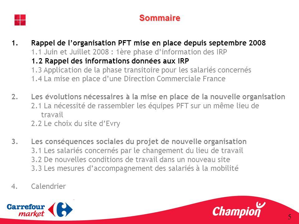 Sommaire Rappel de l'organisation PFT mise en place depuis septembre 2008. 1.1 Juin et Juillet 2008 : 1ère phase d'information des IRP.