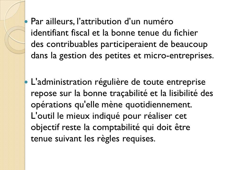 Par ailleurs, l'attribution d'un numéro identifiant fiscal et la bonne tenue du fichier des contribuables participeraient de beaucoup dans la gestion des petites et micro-entreprises.