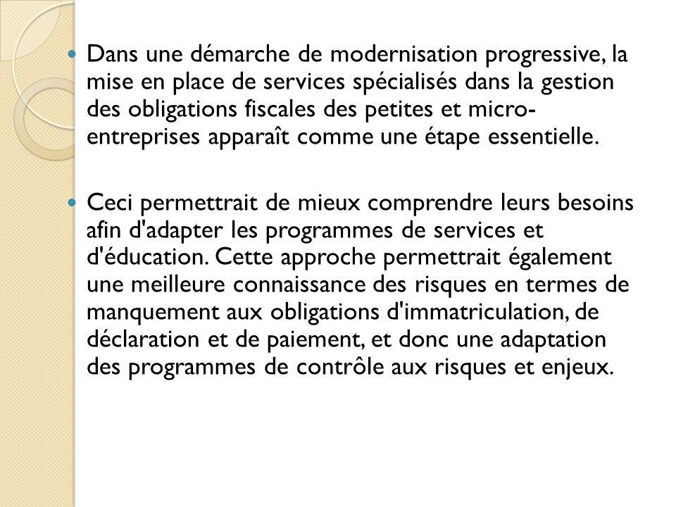 Dans une démarche de modernisation progressive, la mise en place de services spécialisés dans la gestion des obligations fiscales des petites et micro- entreprises apparaît comme une étape essentielle.
