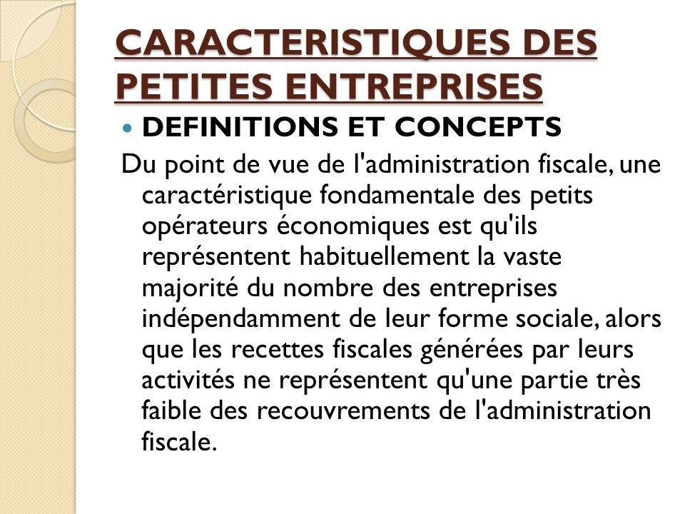 CARACTERISTIQUES DES PETITES ENTREPRISES