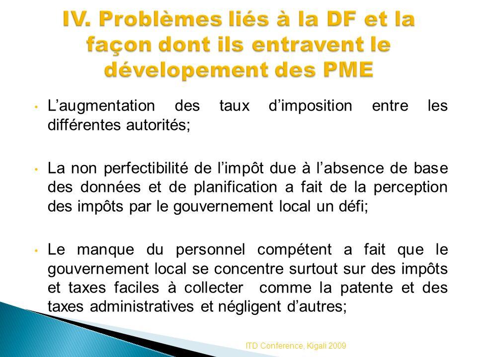 IV. Problèmes liés à la DF et la façon dont ils entravent le dévelopement des PME