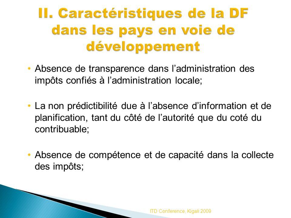 II. Caractéristiques de la DF dans les pays en voie de développement