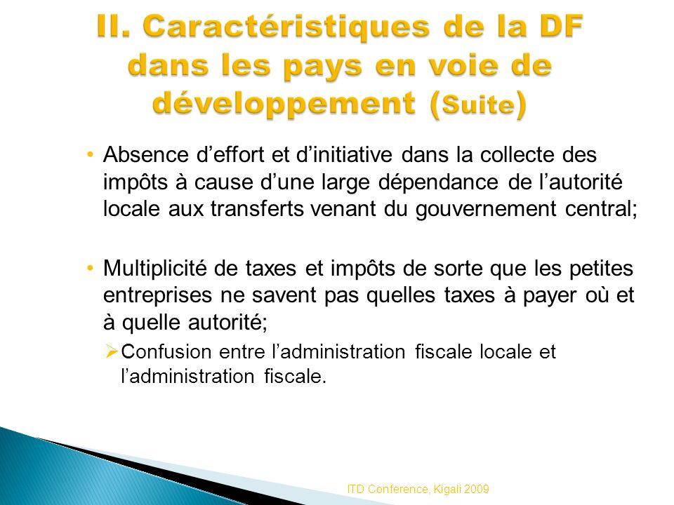 II. Caractéristiques de la DF dans les pays en voie de développement (Suite)