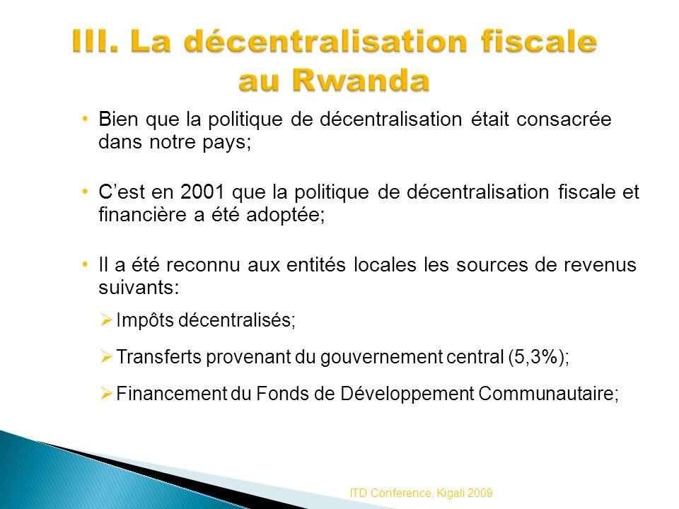 III. La décentralisation fiscale au Rwanda