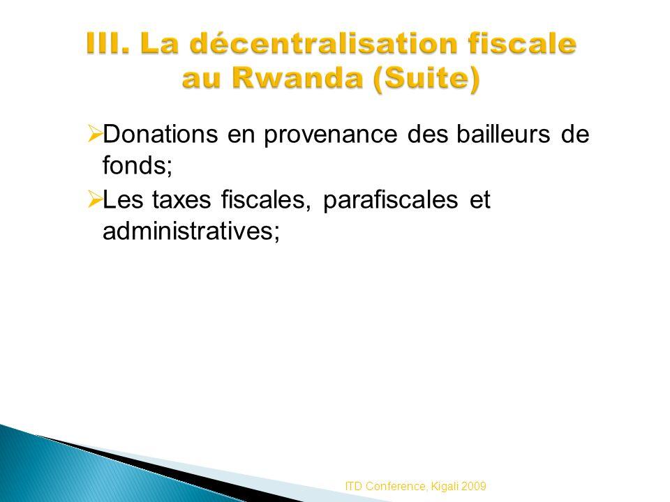 III. La décentralisation fiscale au Rwanda (Suite)
