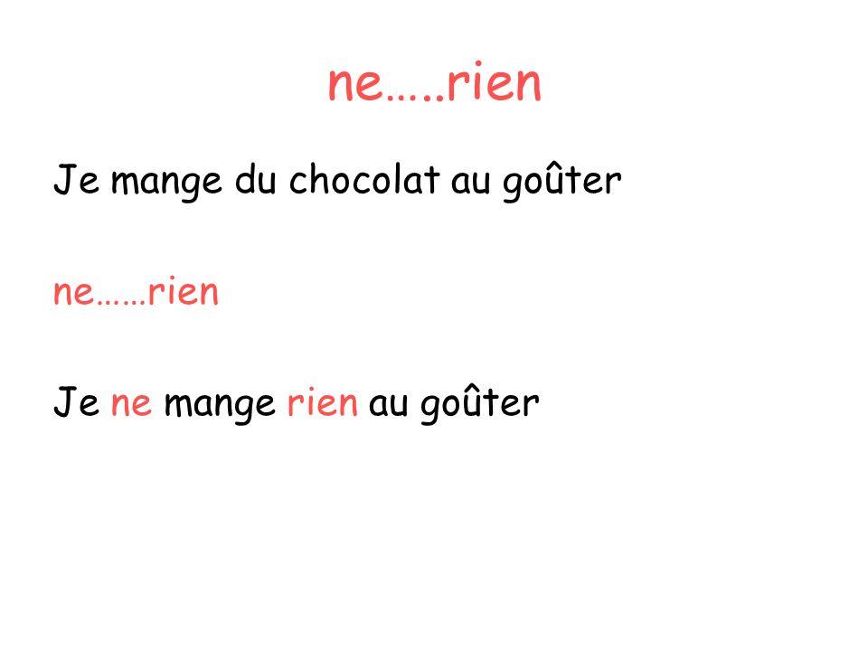 ne…..rien Je mange du chocolat au goûter ne……rien
