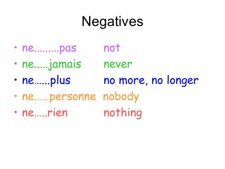 Negatives ne.........pas not ne.....jamais never