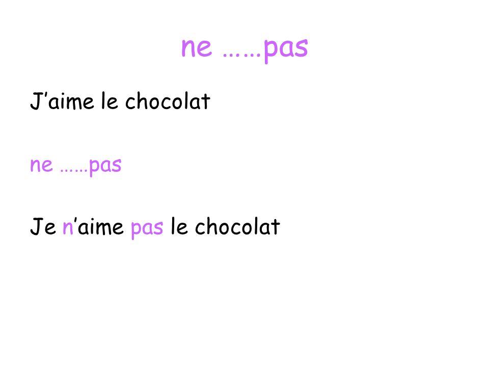ne ……pas J'aime le chocolat ne ……pas Je n'aime pas le chocolat