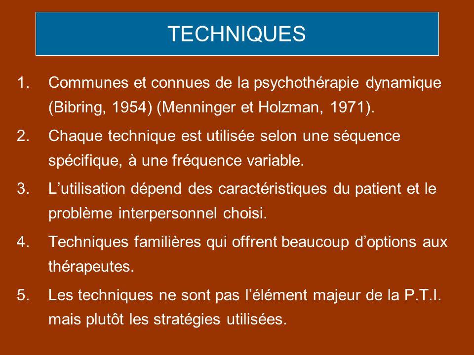 TECHNIQUESCommunes et connues de la psychothérapie dynamique (Bibring, 1954) (Menninger et Holzman, 1971).
