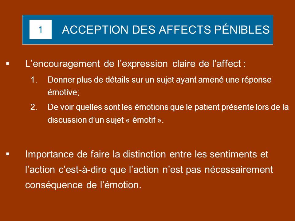 ACCEPTION DES AFFECTS PÉNIBLES