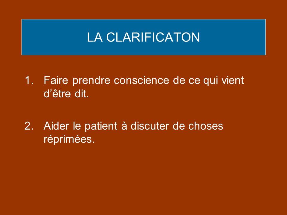LA CLARIFICATON Faire prendre conscience de ce qui vient d'être dit.