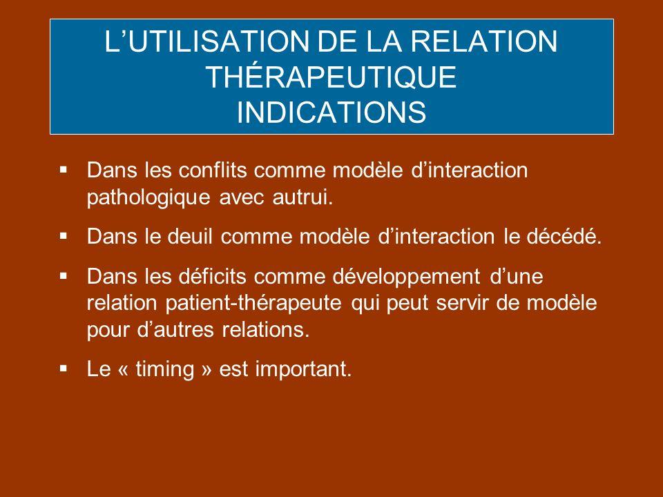 L'UTILISATION DE LA RELATION THÉRAPEUTIQUE INDICATIONS