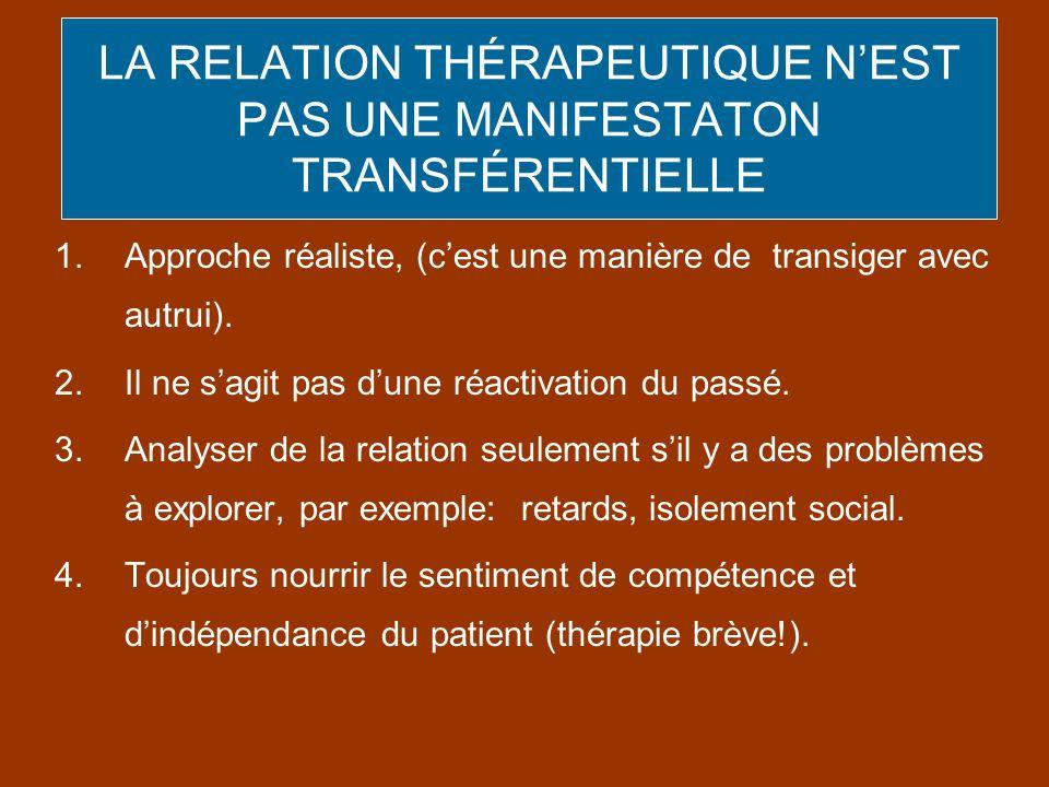 LA RELATION THÉRAPEUTIQUE N'EST PAS UNE MANIFESTATON TRANSFÉRENTIELLE