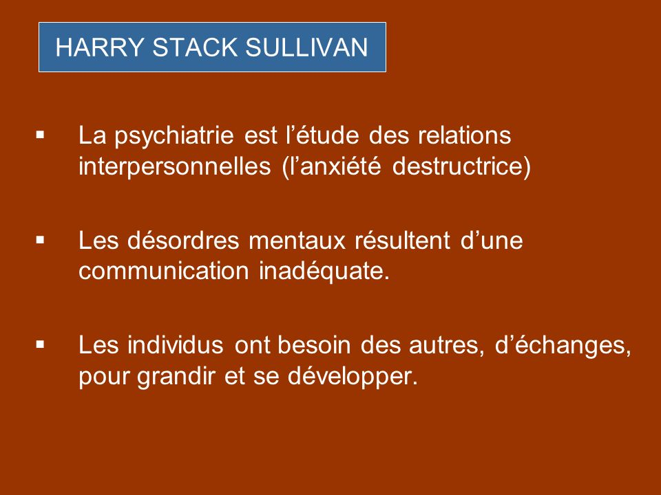 HARRY STACK SULLIVANLa psychiatrie est l'étude des relations interpersonnelles (l'anxiété destructrice)